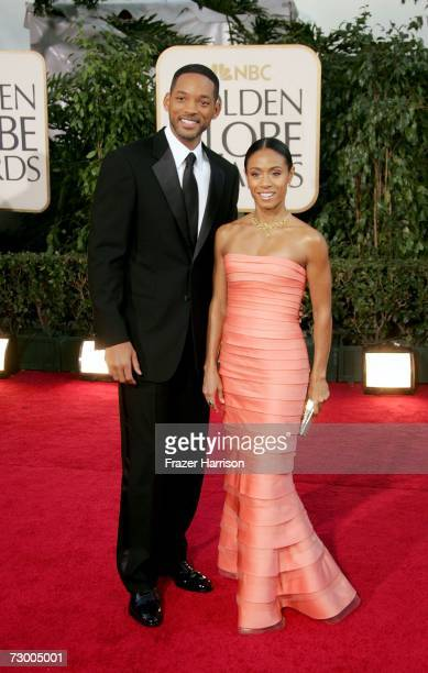 Actors Will Smith and Jada Pinkett Smith arrive at the 64th Annual Golden Globe Awards at the Beverly Hilton on January 15 2007 in Beverly Hills...