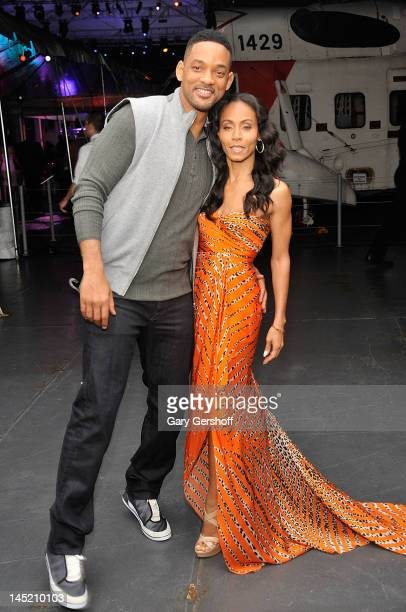 """Actors Will Smith and Jada Pinkett Smith attend the """"Men In Black 3"""" New York Premiere after party at the USS Intrepid on May 23, 2012 in New York..."""