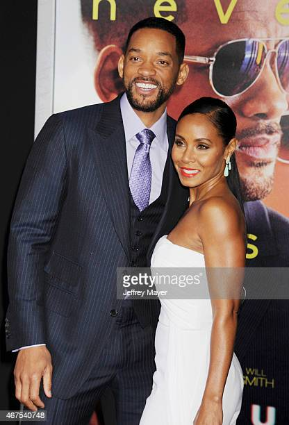 Actors Will Smith and Jada Pinkett Smith attend the Warner Bros Pictures' 'Focus' premiere at TCL Chinese Theatre on February 24 2015 in Hollywood...