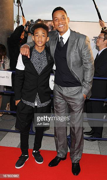 Actors Will Smith and Jaden Smith attend 'After Earth' premier at Skytree arena on May 1 2013 in Tokyo Japan The film will open on June 21 in Japan
