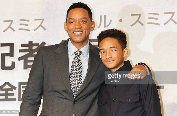 Actors Will Smith and Jaden Smith attend 'After Earth' press conference at the RitzCarlton on May 2 2013 in Tokyo Japan The film will open on June 21...