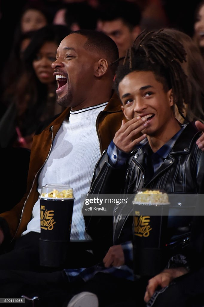 Actors Will Smith (L) and Jaden Smith attend the 2016 MTV Movie Awards at Warner Bros. Studios on April 9, 2016 in Burbank, California. MTV Movie Awards airs April 10, 2016 at 8pm ET/PT.