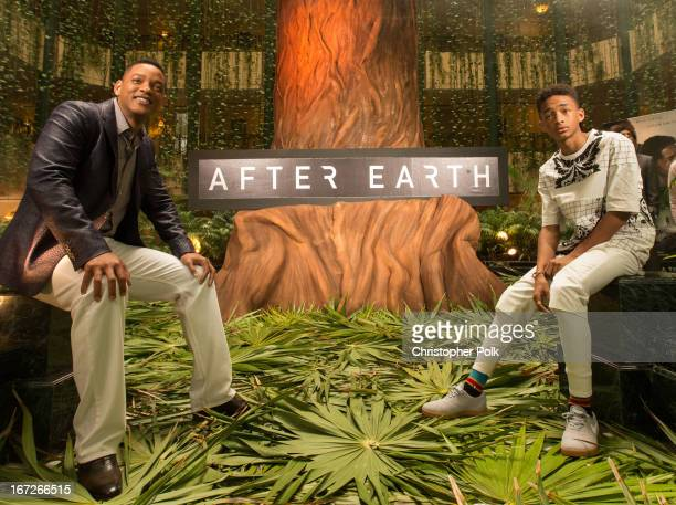 Actors Will Smith and Jaden Smith attend the After Earth photo call at The 5th Annual Summer Of Sony at the Ritz Carlton Hotel on April 23 2013 in...