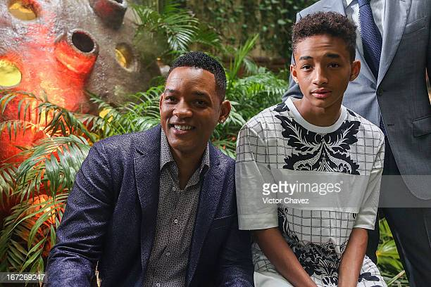 Actors Will Smith and Jaden Smith attend the After Earth photocall during the 5th Annual Summer Of Sony on April 23 2013 in Cancun Mexico