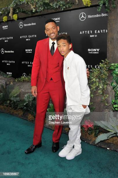 Actors Will Smith and Jaden Smith attend the After Earth premiere at Ziegfeld Theater on May 29 2013 in New York City