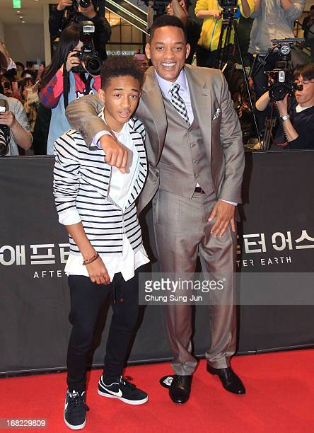 Actors Will Smith and Jaden Smith attend the 'After Earth' South Korea Premiere Time Square on May 7 2013 in Seoul South Korea Will Smith and Jaden...