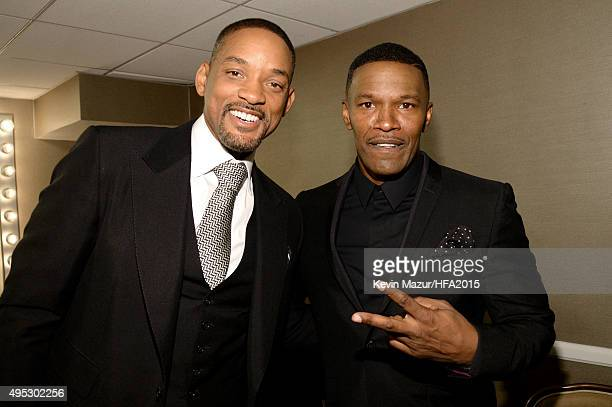 Actors Will Smith and Jamie Foxx attend the 19th Annual Hollywood Film Awards at The Beverly Hilton Hotel on November 1 2015 in Beverly Hills...