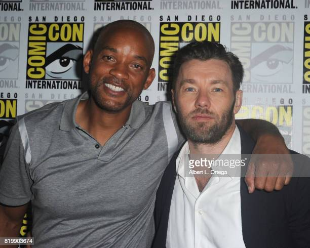 Actors Will Smith and Joel Edgerton attend Netflix Films 'Bright' and 'Death Note' panel during ComicCon International 2017 at San Diego Convention...