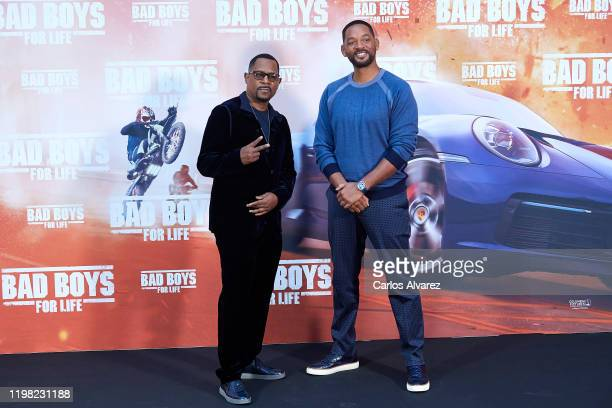 Actors Will Smith and Martin Lawrence attend 'Bad Boys For Life' photocall at the Villamagna Hotel on January 08 2020 in Madrid Spain