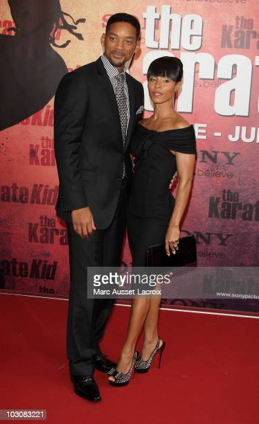 Actors Will Smith and wife Jada Pinkett Smith attend 'The Karate Kid' Premiere at Le Grand Rex on July 25, 2010 in Paris, France.