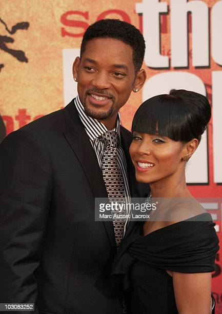 Actors Will Smith and wife Jada Pinkett Smith attend 'The Karate Kid' Premiere at Le Grand Rex on July 25 2010 in Paris France