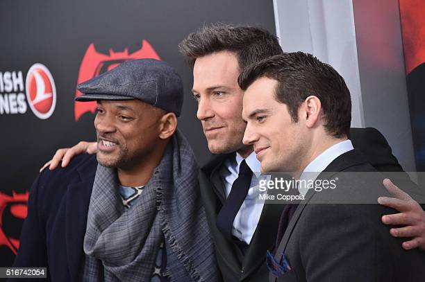 "Actors Will Smith, Ben Affleck and Henry Cavill attend The ""Batman V Superman: Dawn Of Justice"" New York Premiere at Radio City Music Hall on March..."