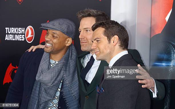 """Actors Will Smith, Ben Affleck and Henry Cavill attend the """"Batman V Superman: Dawn Of Justice"""" New York premiere at Radio City Music Hall on March..."""