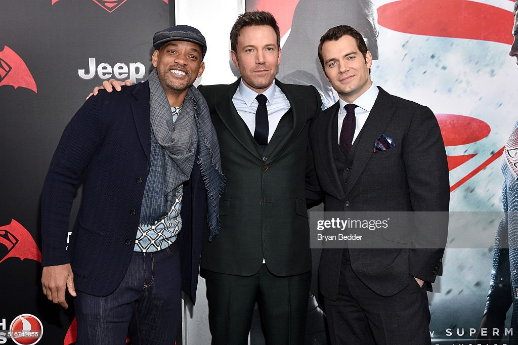 Actors Will Smith, Ben Affleck, and Henry Cavill attend the launch of Bai Superteas at the 'Batman v Superman: Dawn of Justice' premiere on March 20, 2016 in New York City.
