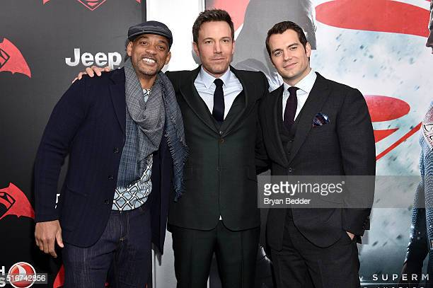 Actors Will Smith Ben Affleck and Henry Cavill attend the launch of Bai Superteas at the 'Batman v Superman Dawn of Justice' premiere on March 20...