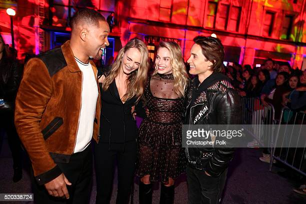 Actors Will Smith Cara Delevingne Margot Robbie and Jared Leto speak onstage during the 2016 MTV Movie Awards at Warner Bros Studios on April 9 2016...