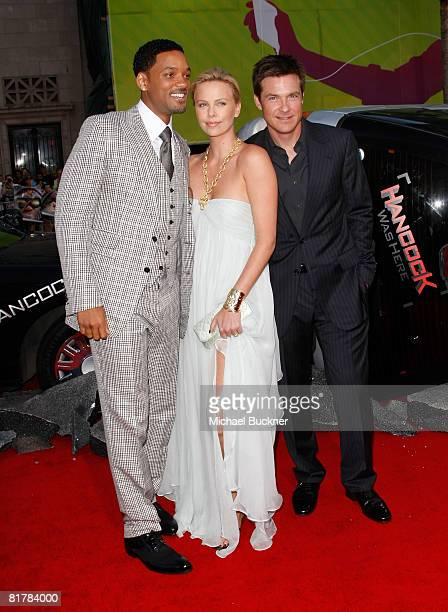 Actors Will Smith Charlize Theron and Jason Bateman arrives to the Premiere of Sony Pictures' 'Hancock' at Grauman's Chinese Theatre on June 30 2008...