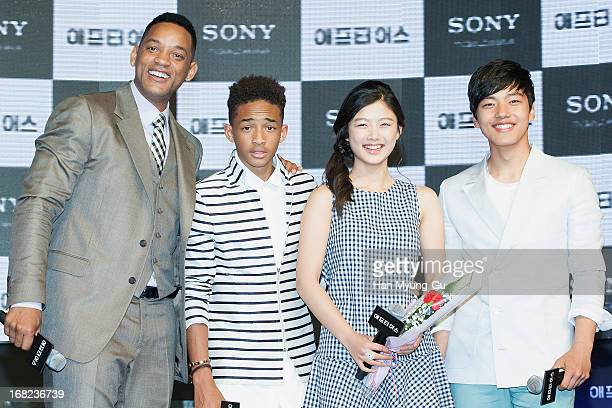 Actors Will Smith Jaden Smith Kim YouJung and Yeo JinGu attend the 'After Earth' South Korea Premiere Times Square on May 7 2013 in Seoul South Korea...