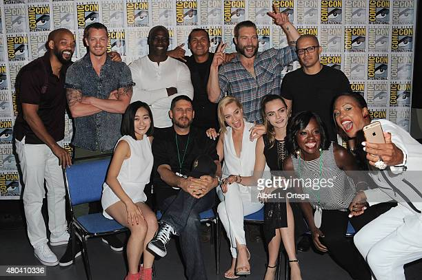 Actors Will Smith Joel Kinnaman Adewale AkinnuoyeAgbaje Adam Beach Jai Courtney and Jay Hernandez actress Karen Fukuhara director David Ayer...