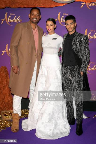 "Actors Will Smith Naomi Scott and Mena Massoud attend the ""Aladdin"" Paris Gala Screening at Cinema Le Grand Rex on May 08 2019 in Paris France"