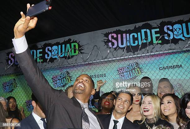 Actors Will Smith Viola Davis Jay Hernandez Cara Delevingne Margot Robbie and Karen Fukuhara attend the Suicide Squad world premiere at The Beacon...