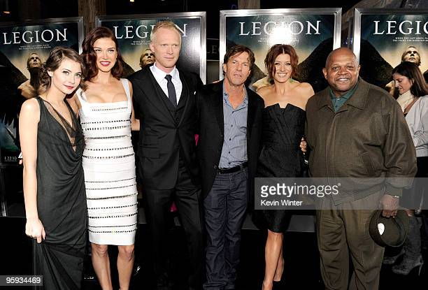 "Actors Willa Holland, Adrianne Palicki, Paul Bettany, Dennis Quaid, Kate Walsh and Charles S. Dutton arrive at the premiere of Screen Gems' ""Legion""..."