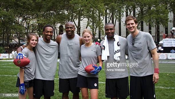 Actors Willa Holland, Anthony Mackie, Terry Crews, Rachel Nichols, Rob Brown and Zach Gilford attend Madden NFL 12 Pigskin Pro-Am in Bryant Park on...
