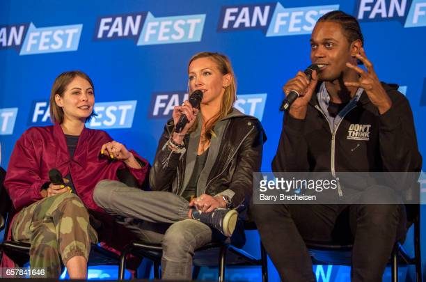 Actors Willa Holland Katie Cassidy and Echo Kellum during the Walker Stalker Con Chicago at the Donald E Stephens Convention Center on March 25 in...