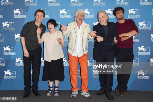 Actors Willem Dafoe Adriana Asti Ninetto Davoli director Abel Ferrara and actor Riccardo Scamarcio attend the 'Pasolini' photocall during the 71st...
