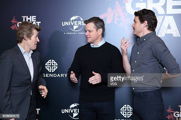 Actors Willem Dafoe Matt Damon and actor Pedro Pascal attend 'The Great Wall' press conference at Peninsula Hotel on December 8 2016 in Beijing China