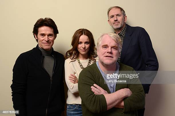 Actors Willem Dafoe Rachel McAdams and Philip Seymour Hoffman and director Anton Corbijn pose for a portrait during the 2014 Sundance Film Festival...