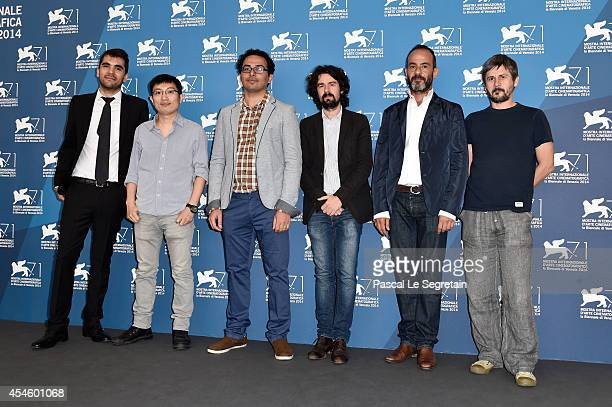 Actors Willem DafoeAdriana AstiNinetto Davoli with director Abel Ferrara and actor Riccardo Scamarcio attend the 'Pasolini' photocall at the Palazzo...