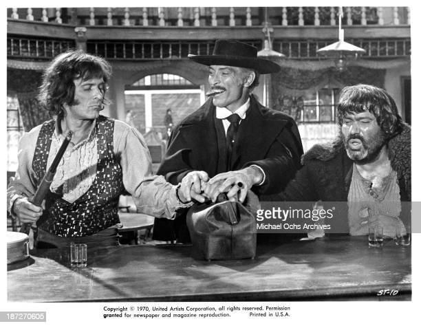 "Actors William Berger,Lee Van Cleef and Ignazio Spalla on set of the United Artist movie ""Sabata"" in 1969."
