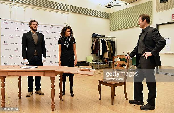 Actors William Connell Talia Thiesfield and George Merrick perform during the Ring Twice For Miranda cast photocall at The New 42nd Street Studios on...