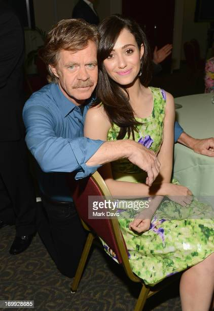Actors William H Macy and Emmy Rossum attend a screening and panel discussion of Showtime's Shameless held at the Leonard H Goldenson Theatre on June...