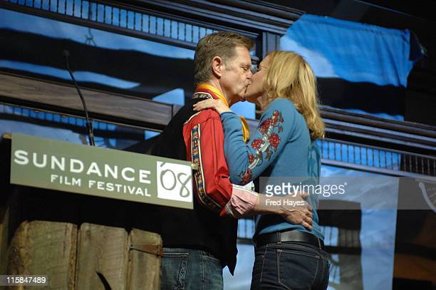 Actors William H Macy and Felicity Huffman on stage during the 2008 Sundance Film Festival Awards Night Ceremony at the Racquet Club on January 26...