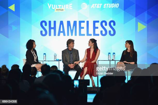 Actors William H. Macy, Emmy Rossum, and Nancy Pimental speak onstage during the 2017 Vulture Festival at Milk Studios on May 21, 2017 in New York...