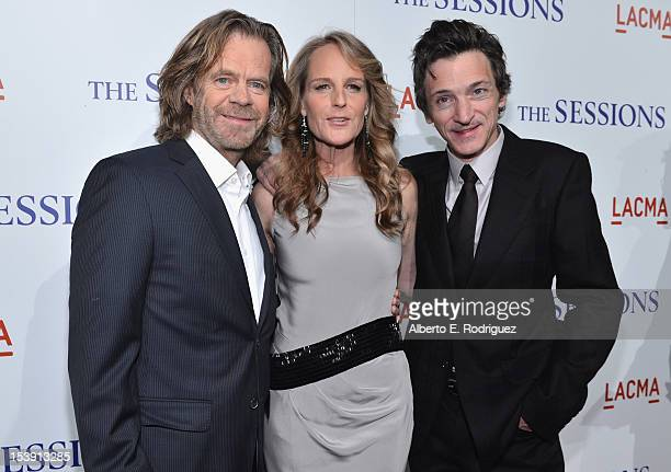 Actors William H Macy Helen Hunt and John Hawkes arrive to the Los Angeles premiere of Fox Searchlight Pictures' 'The Sessions' held at the Bing...