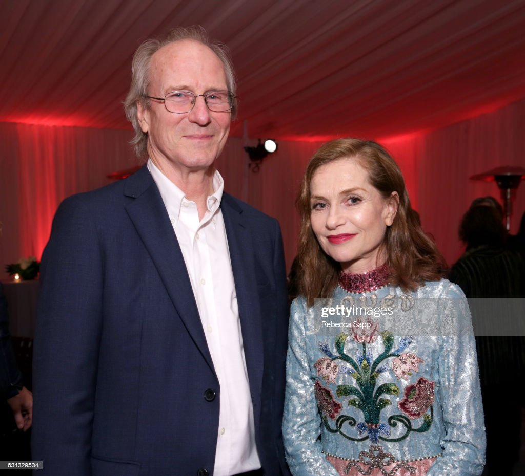 Actors William Hurt and Isabelle Huppert attend the afterparty at the Montecito Award during the 32nd Santa Barbara International Film Festival at the Arlington Theatre on February 8, 2017 in Santa Barbara, California.