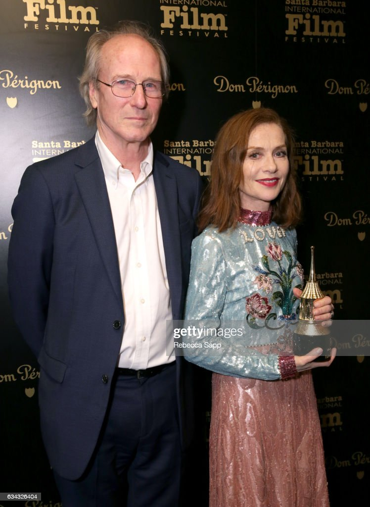 Actors William Hurt and Isabelle Huppert pose backstage at the Montecito Award during the 32nd Santa Barbara International Film Festival at the Arlington Theatre on February 8, 2017 in Santa Barbara, California.