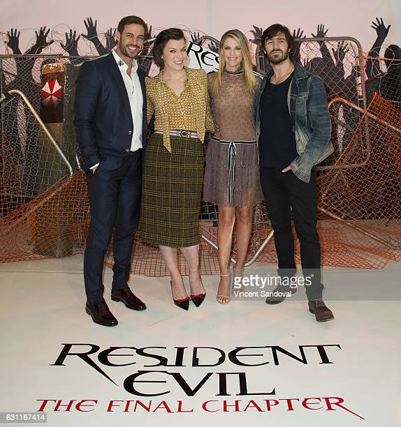 Actors William Levy Milla Jovovich Ali Larter and Eoin Macken attend the Photo Call for Sony Pictures releasing's Resident Evil The Final Chapter at...