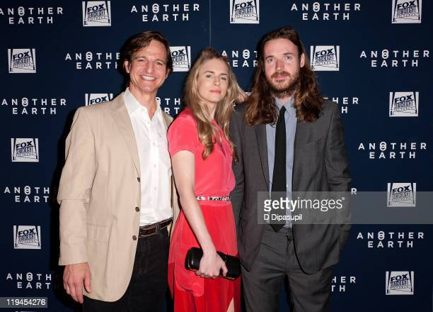 Actors William Mapother Brit Marling and director Mike Cahill attend the Another Earth premiere at Landmark's Sunshine Cinema on July 20 2011 in New...