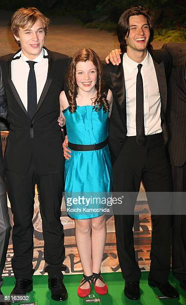 Actors William Moseley Georgie Henley and Ben Barnes attend The Chronicles of Narnia Prince Caspian Japan Premiere at Roppongi Hills Arena on May 20...