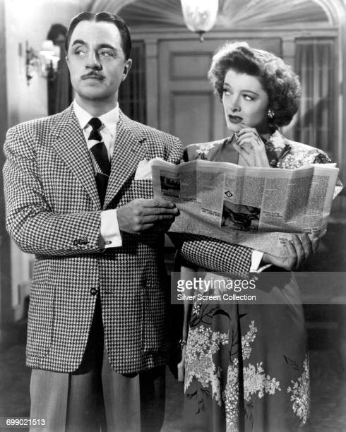 Actors William Powell as Nick Charles and Myrna Loy as Nora Charles in the film 'The Thin Man Goes Home' 1945