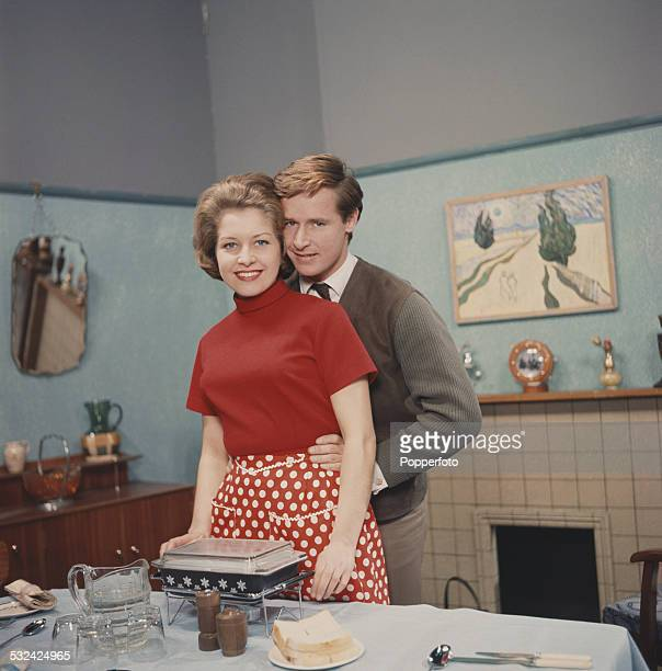 Actors William Roache and Anne Reid posed together in character as Ken Barlow and Valerie Barlow on the set of the television soap opera Coronation...