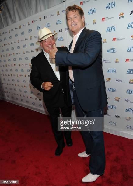 Actors William Shatner and David Hasselhoff attend the 2010 A&E Upfront at the IAC Building on May 5, 2010 in New York City.