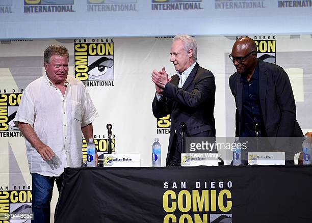 Actors William Shatner Brent Spiner and Michael Dorn attend the 'Star Trek' panel during ComicCon International 2016 at San Diego Convention Center...