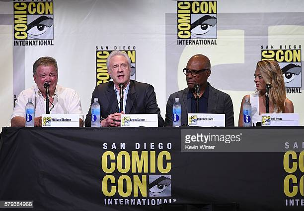 Actors William Shatner Brent Spiner Michael Dorn and Jeri Ryan attend the 'Star Trek' panel during ComicCon International 2016 at San Diego...