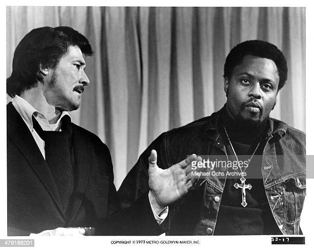 Actors William Smith and Roger E Mosley in a scene from the MGM movie Sweet Jesus Preacherman circa 1973
