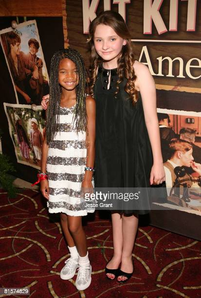Actors Willow Smith and Abigail Breslin attend the premiere of Kit Kittredge An American Girl at The Grove on June 14 2008 in Los Angeles California